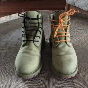 TIMBERLAND Green Leather Youth 6 Inch Premium Boot